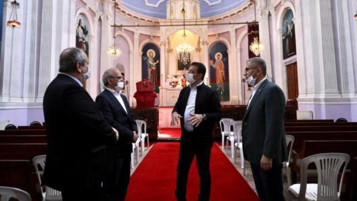 İmamoğlu ve Türkmen'den, haçı koparılan kiliseye ziyaret
