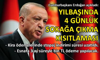 Erdoğan açıkladı: Yılbaşında 4 gün kesintisiz sokağa çıkma yasağı