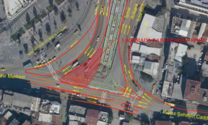 Bursa Kent Meydanı'nda trafik düzenlemesi