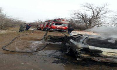 Kayseri'de seyir halindeki araç yandı