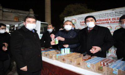 Aksaray'da kandillik ikramlar Başkan Dinçer'den