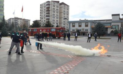 Kayseri Talas Belediyesi yangın tatbikatı yaptı