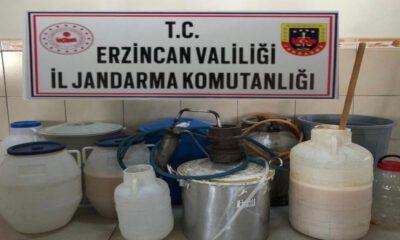 Erzincan'da 205 litre kaçak alkol ele geçirildi